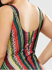 Square Neck  Abstract Print Plus Size One Piece