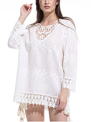 Hollow Out Lace Plain Tunic