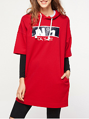Autumn Spring  Polyester  Women  Letters Plain  Half Sleeve Hoodies