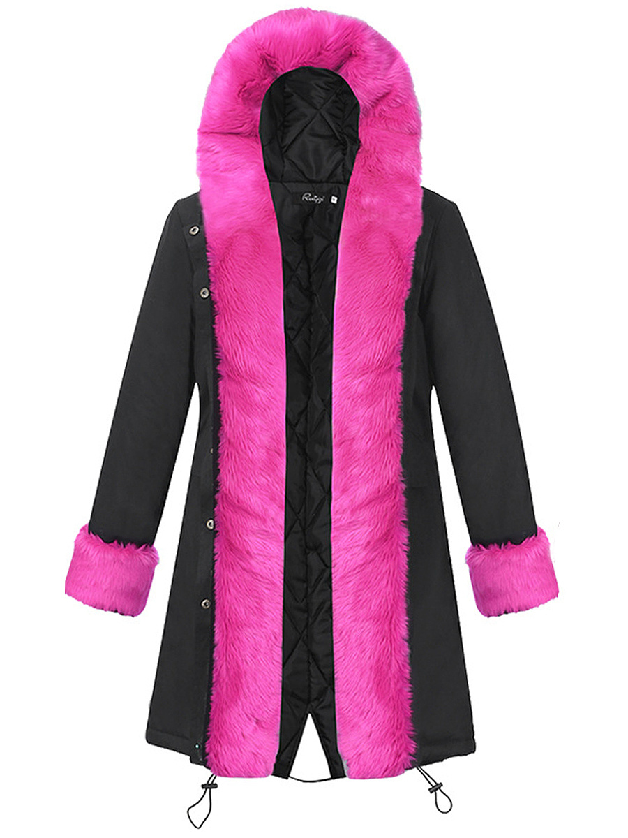 Hooded Contrast Faux Fur Trim Drawstring Coat