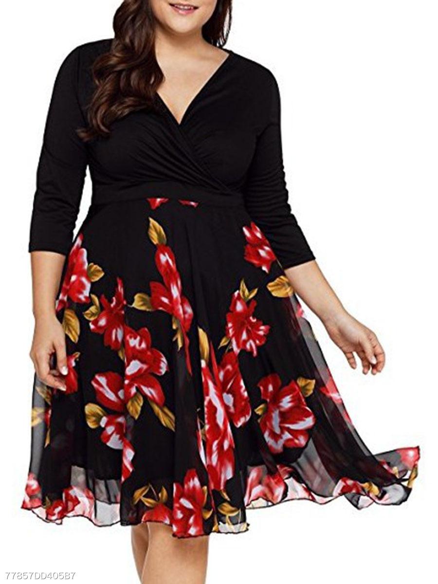 a9017562284b1 V-Neck Patchwork Printed Plus Size Midi   Maxi Dress - fashionMia.com