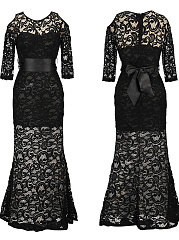 Round Neck  Lace Evening Dress