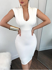 Deep V-Neck  Plain Bodycon Sexy   Dress
