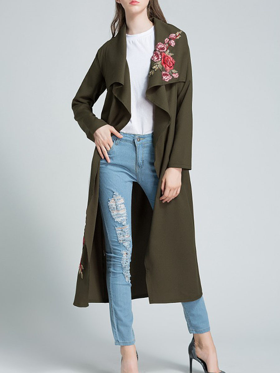 Lapel Belt Embroidery Patch Trench Coat