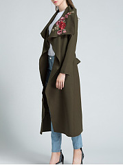 Lapel  Belt  Embroidery  Long Sleeve Trench Coats