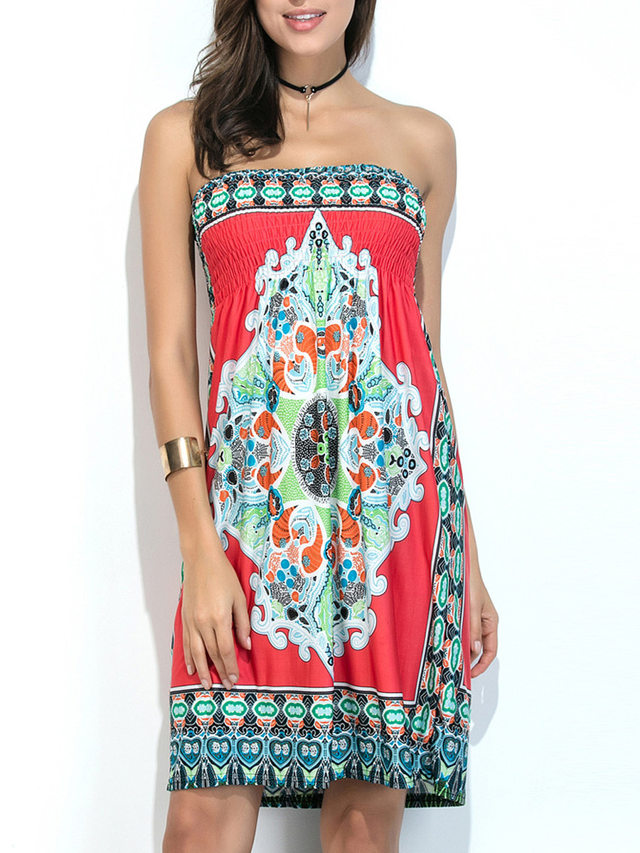 Strapless  Smocked Bodice  Tribal Printed Shift Dress
