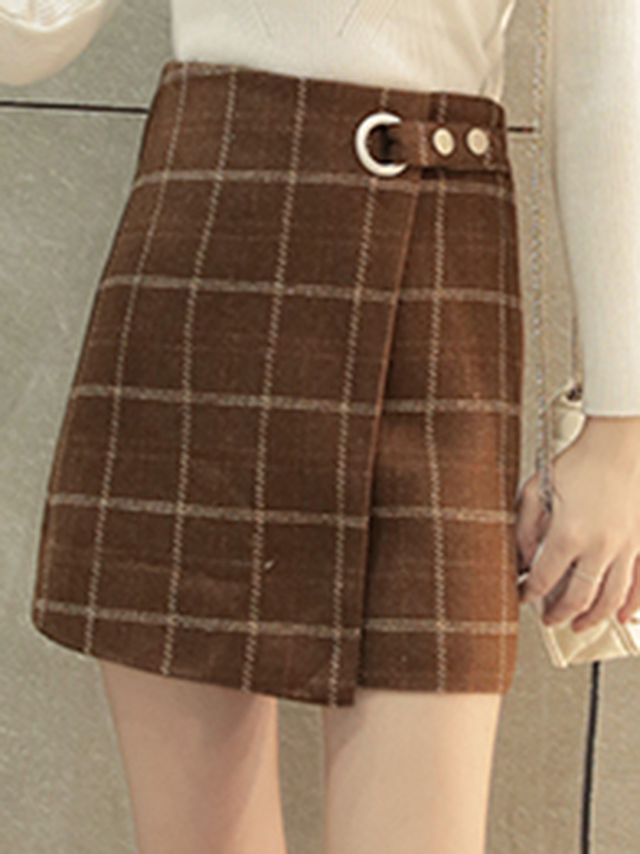Plaid Woolen A-Line Mini Skirt