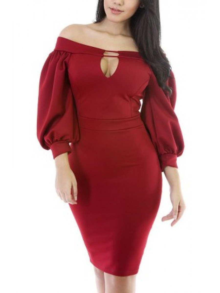 Off Shoulder Keyhole Plain Puff Sleeve Bodycon Dress