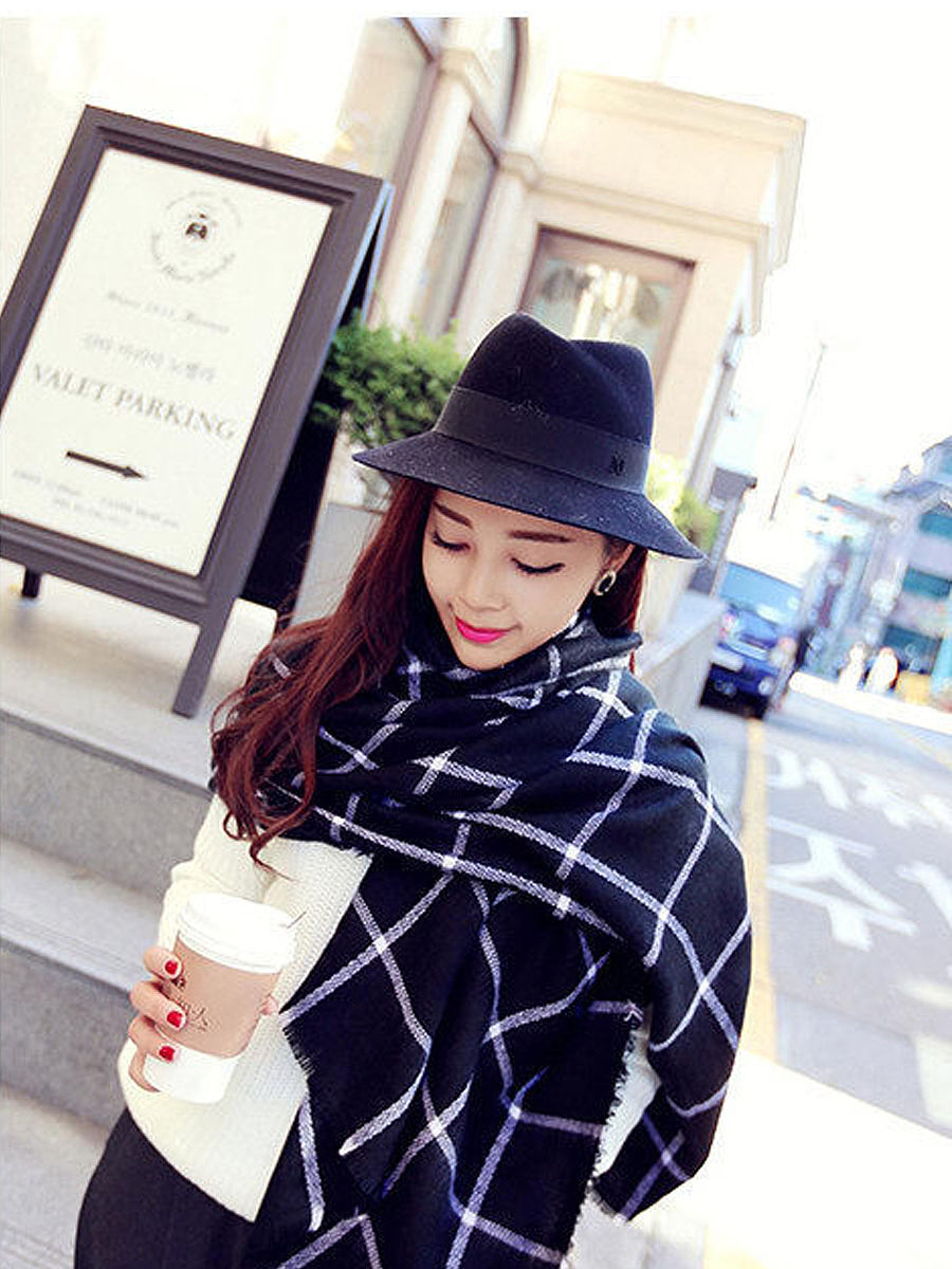 Fashion Stylish Streetsnap Warm Plaid  Velvet Scarves