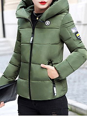 Hooded  Zips  Badge  Plain  Long Sleeve Coats