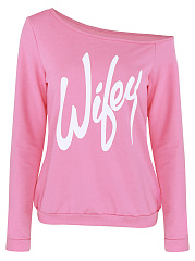 One Shoulder Sweatshirt In Letters Printed