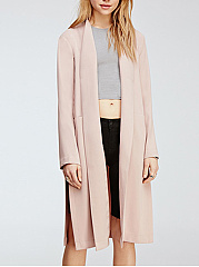 Collarless  High Slit  Plain  Long Sleeve Trench Coats