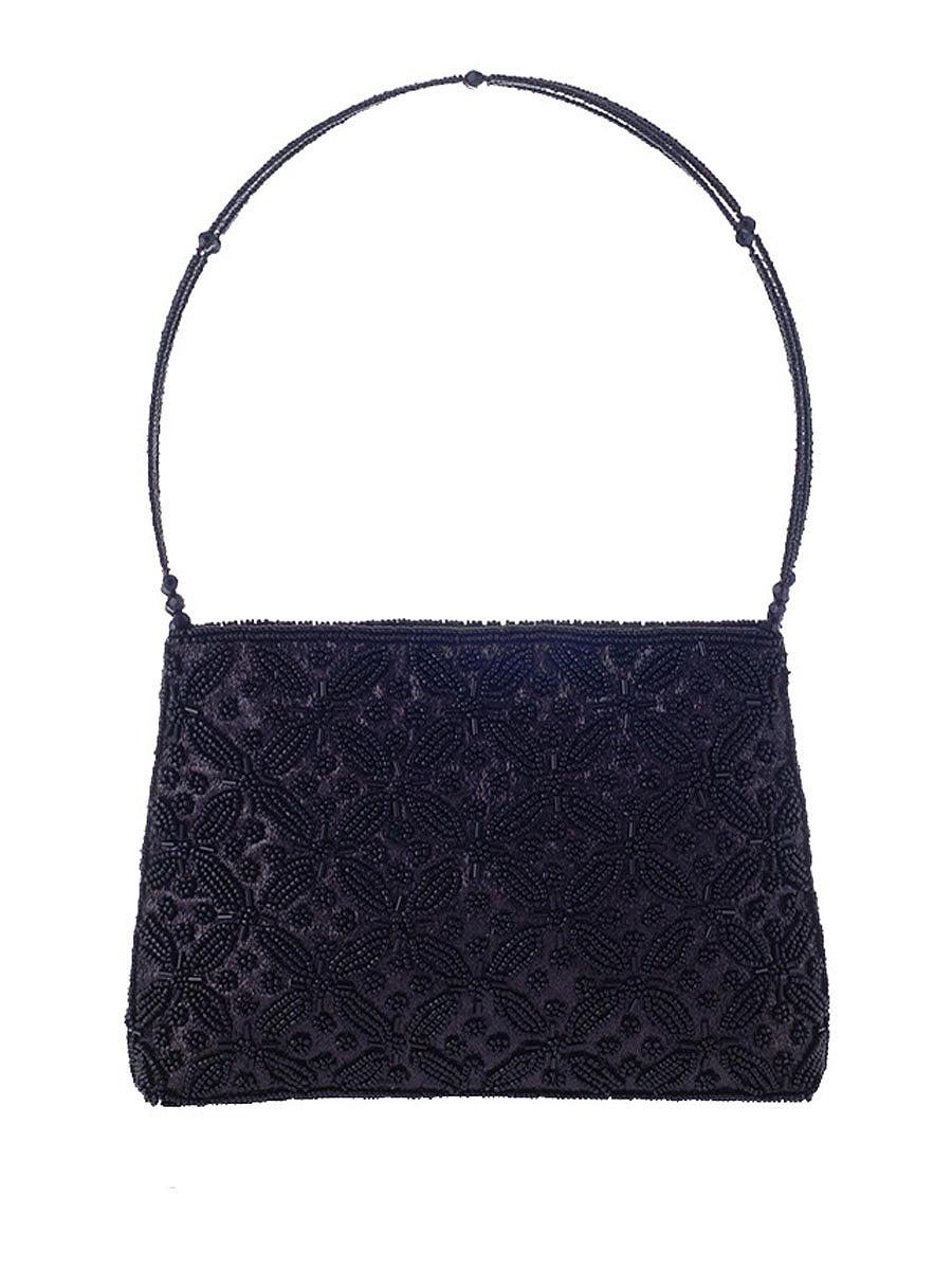 Floral Beading Handle Evening Clutch Bag