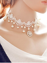 Lace Faux Pearl Choker Necklace