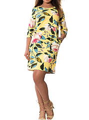 Boat Neck  Floral  Blend Bodycon Dress