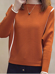 Round Neck  Stripes  Batwing Sleeve Knit Pullover