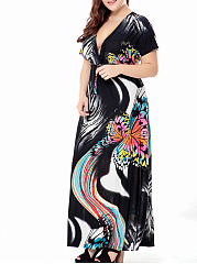 Fantastic Deep V-Neck Printed Plus Size Maxi Dress