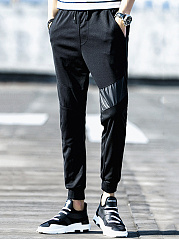 Plain-Patchwork-Drawstring-Mens-Casual-Jogger-Pants