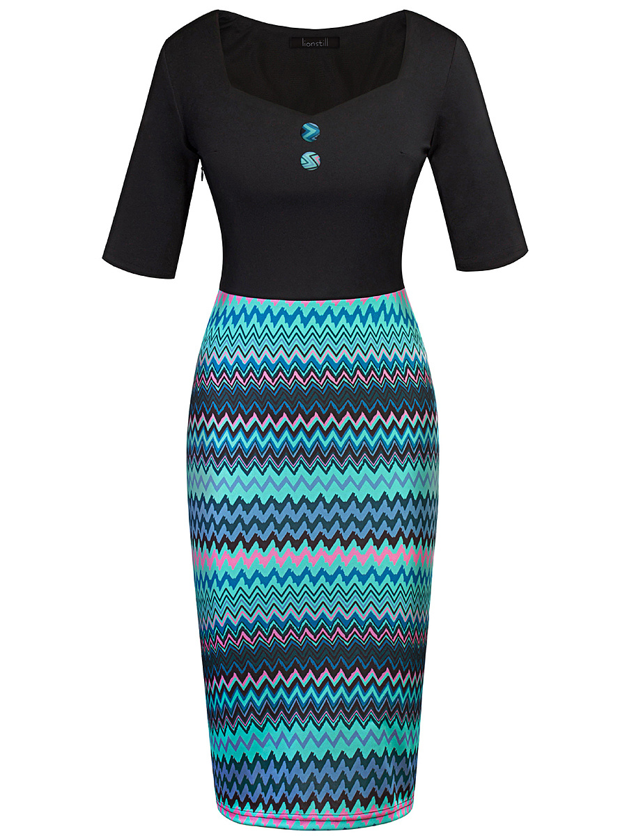 Square Neck  Asymmetric Stripe  Blend Bodycon Dress
