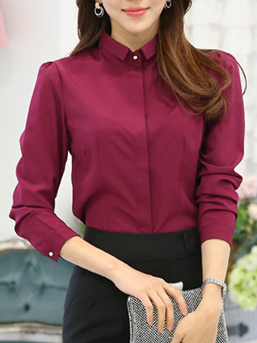Turn Down Collar Solid Long Sleeve Blouse