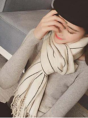 Warm Vertical Striped Tassel Plain Cotton Scarves For Lady