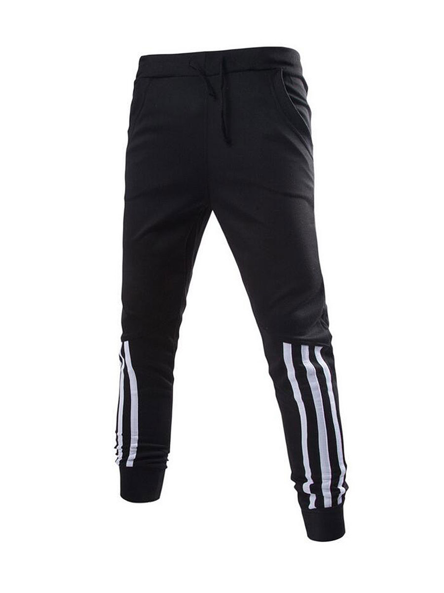 Drawstring  Striped  Pegged  Mid-Rise Men's Casual Pants