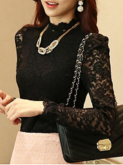 Autumn Spring  Lace  Women  High Neck  Decorative Lace See-Through  Plain  Long Sleeve Blouses