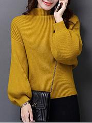 High-Neck-Plain-Puff-Sleeve-Sweater