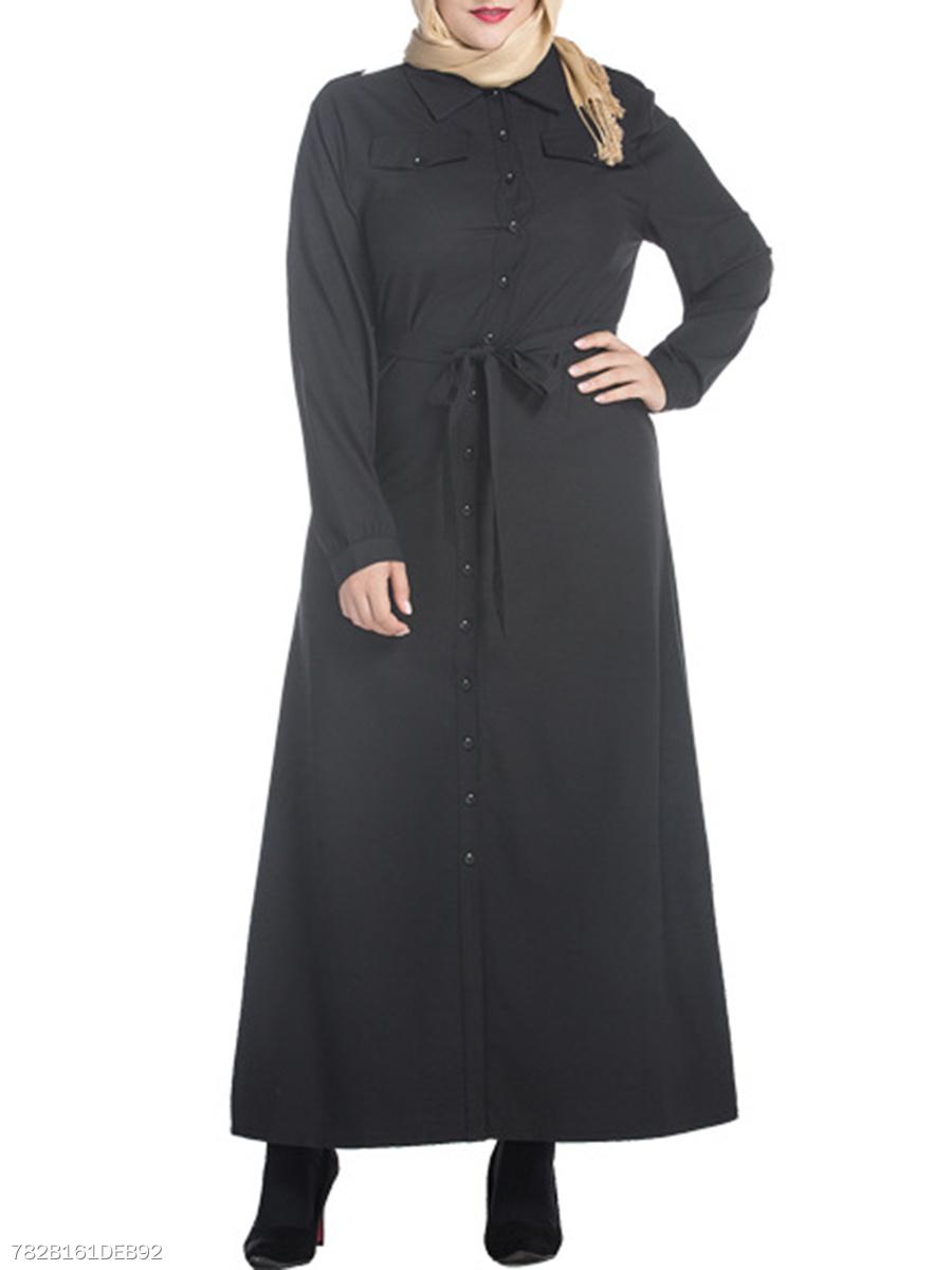 Solid Single Breasted Plus Size Maxi Shirt Dress Fashionmia