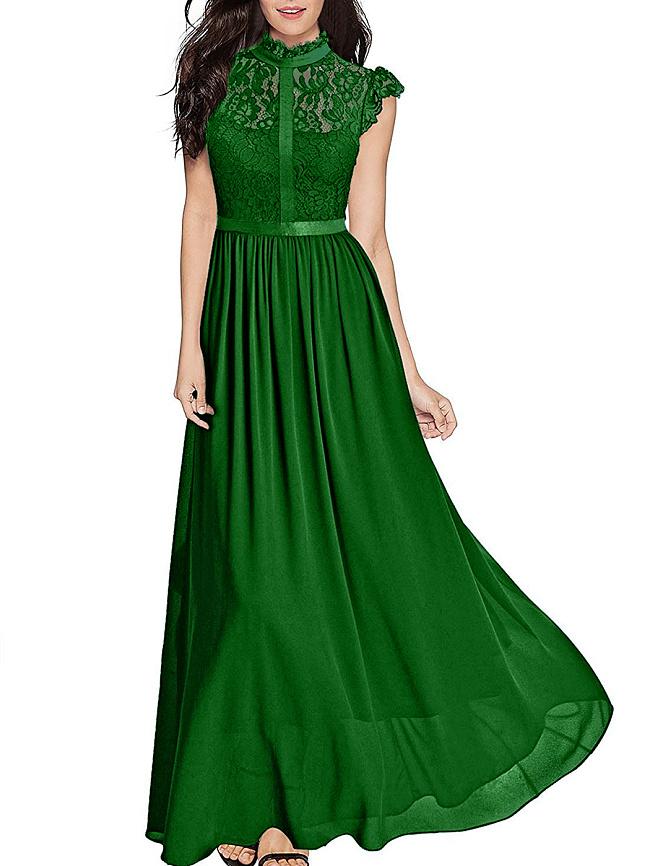 Image of Fashionmia Band Collar See-Through Plain Chiffon Swing Maxi Dress