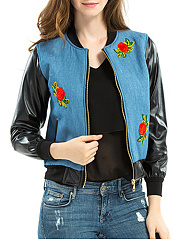 Band-Collar-Patchwork-Floral-PU-Leather-Jacket