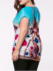 Gradient Butterfly Printed Plus Size T-Shirt