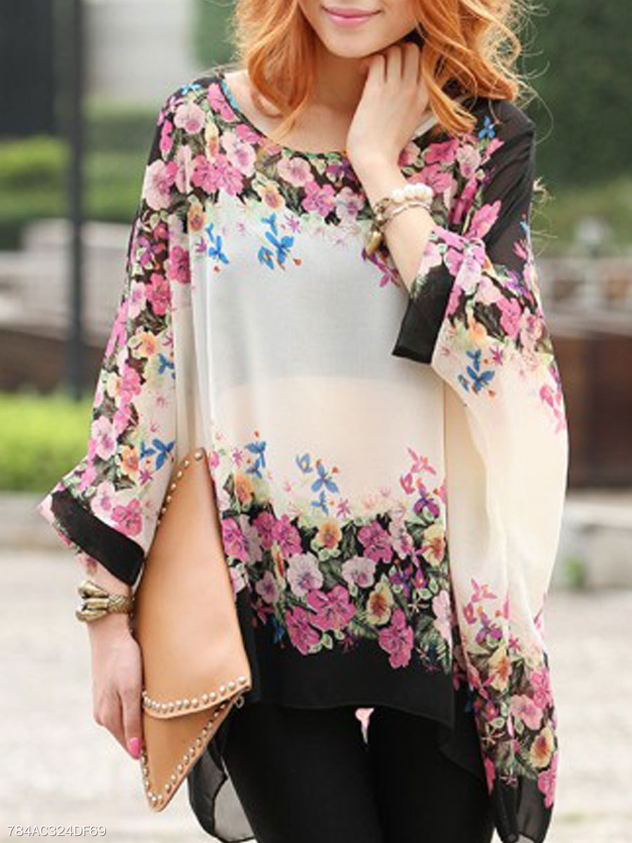 Spring Summer  Chiffon  Women  Round Neck  Asymmetric Hem  Floral Printed  Batwing Sleeve  Long Sleeve Blouses