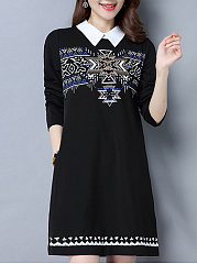 Doll Collar Printed Pocket Shift Dress
