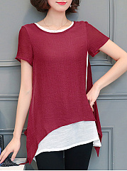 CottonLinen  Round Neck  Plain  Short Sleeve Blouses