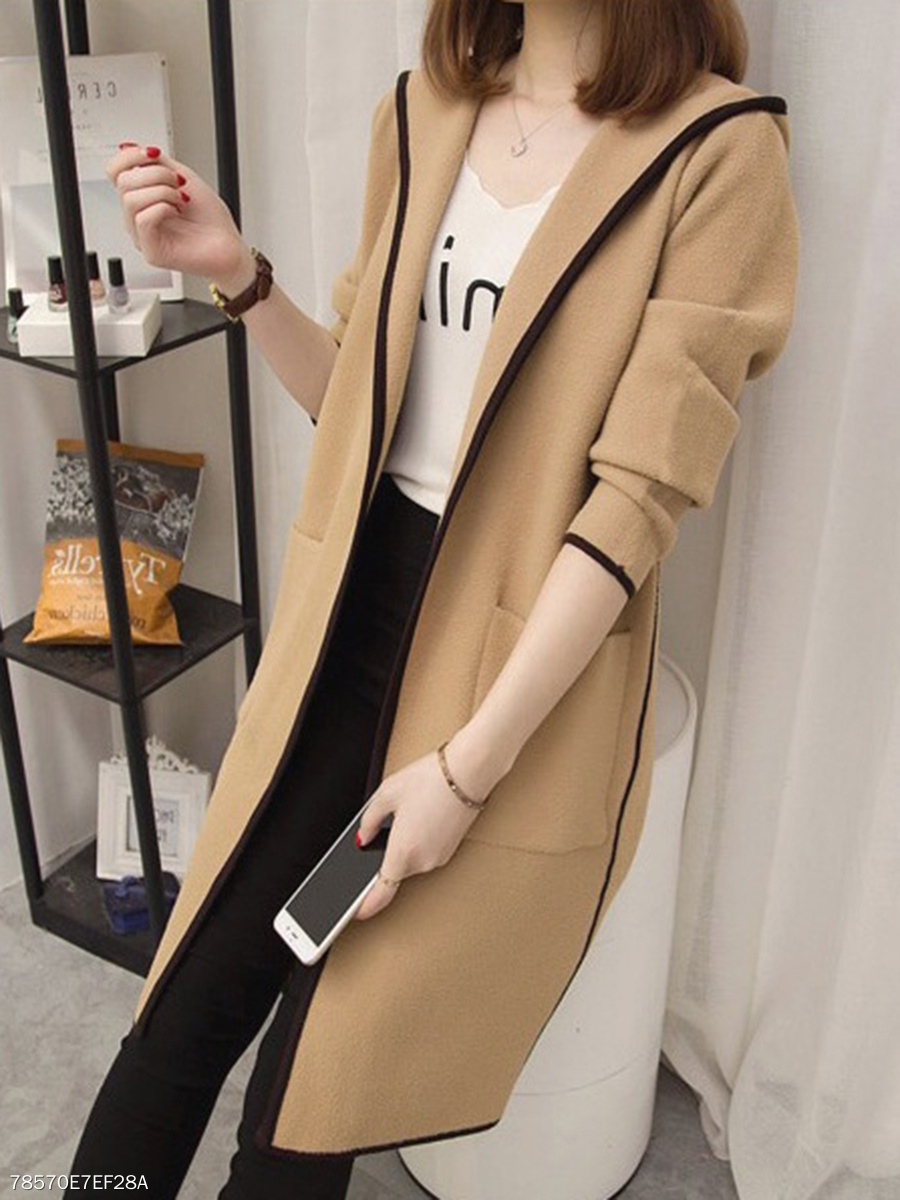 Hooded Contrast Piping Patch Pocket Longline Coat