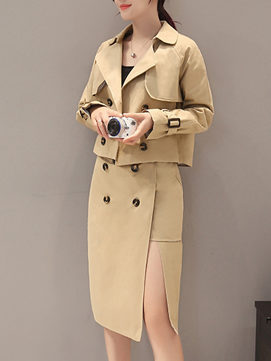 Solid Double Breasted Lapel Trench Coat And High Slit Skirt