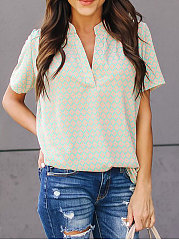 Summer  Cotton  Women  V-Neck  Geometric  Short Sleeve Blouses