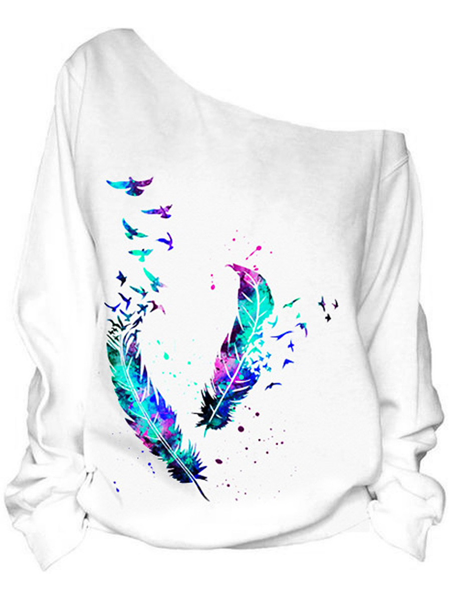 One Shoulder Feather Bird Printed Long Sleeve T-Shirt