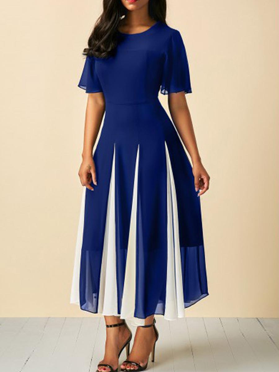 Round Neck  Patchwork  Color Block Maxi Dress
