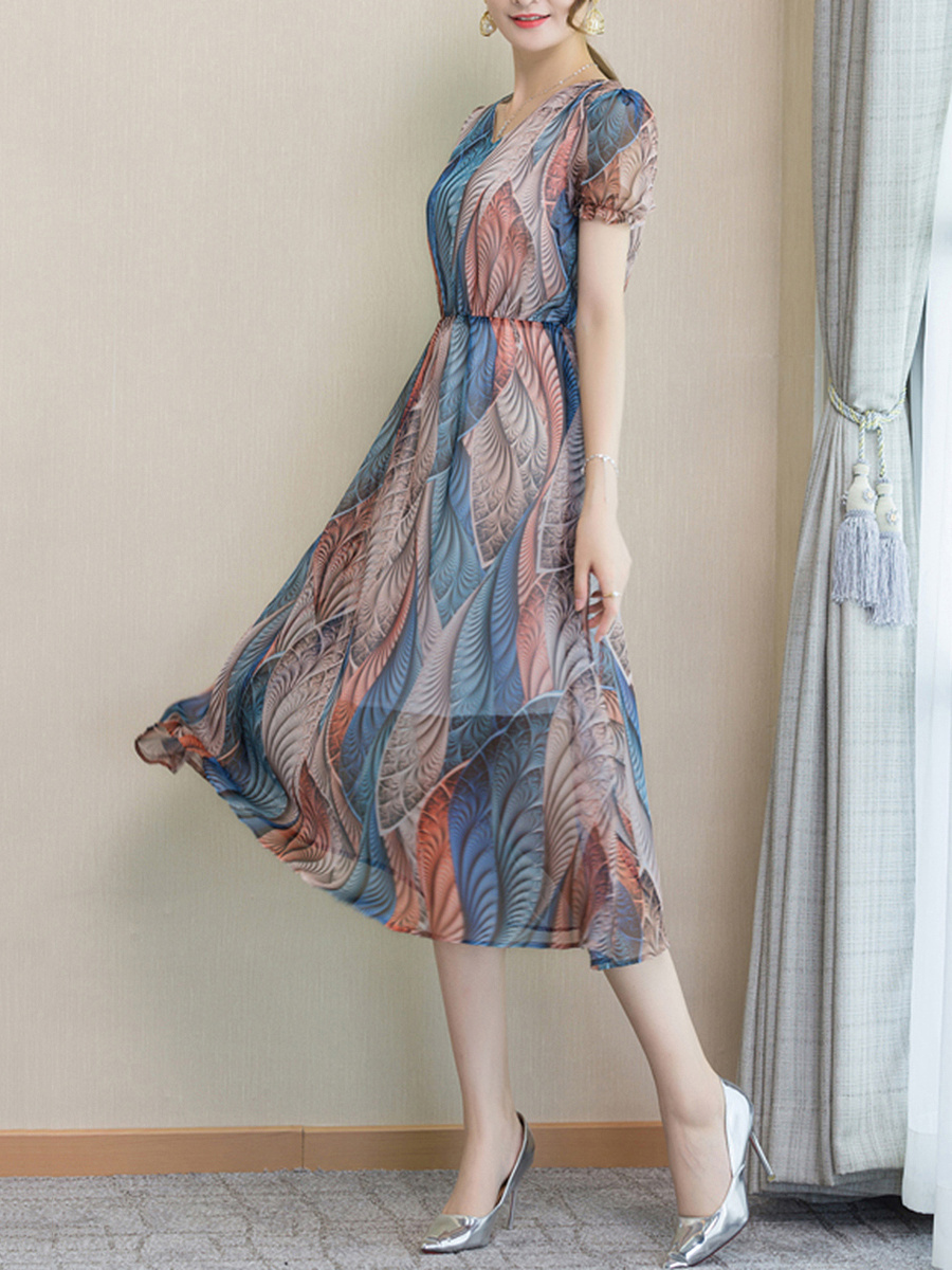 V-Neck  Printed  Chiffon Maxi Dress
