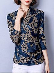 Autumn Spring  Polyester  Women  V-Neck  Floral  Long Sleeve Blouses