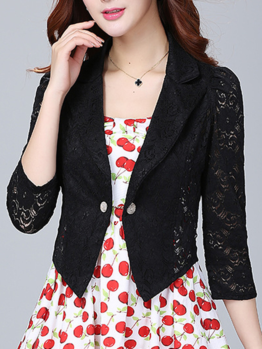Notch Lapel Patchwork Hollow Out Plain Blazer