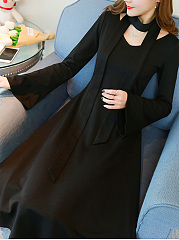 V-Neck  Belt  Plain Date Maxi Dress