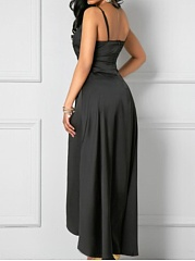 Spaghetti Strap  Belt  Plain Maxi Dress