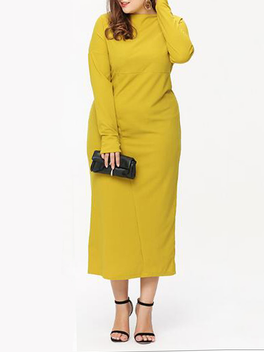 Boat Neck  Plain Plus Size Midi & Maxi Dresses