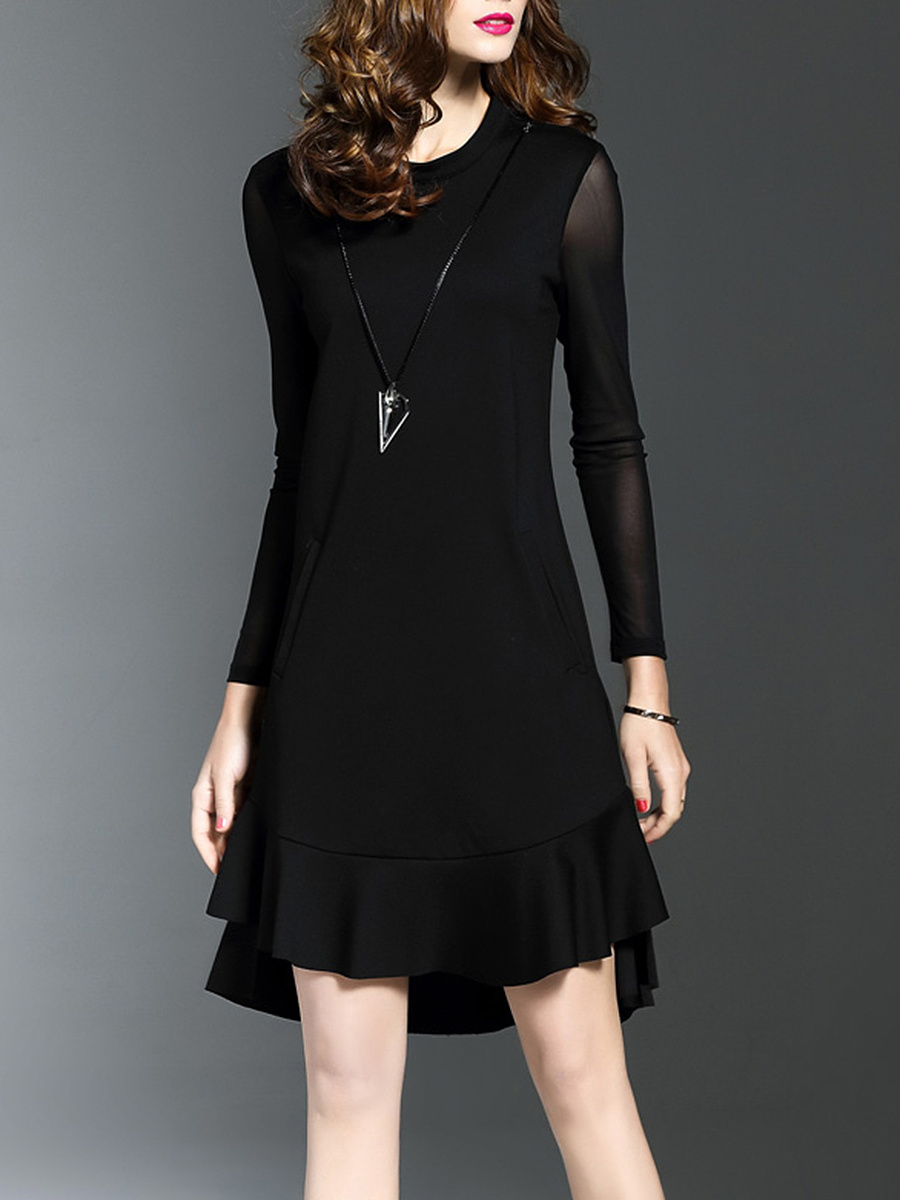 Round Neck See-Through Plain Flounce Hem Shift Dress