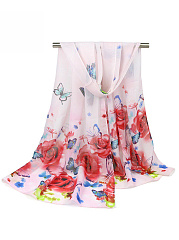 Butterfly And Rose Chiffon Long Scarf
