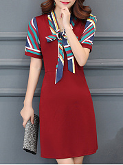 Tie Collar  Printed Office Shift Dress