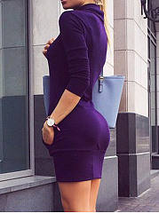 High Neck Plain Pocket Mini Bodycon Dress